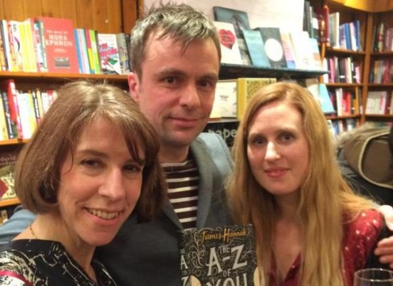 James Hannah (centre), with his editor Jane Lawson and agent Sue Armstrong